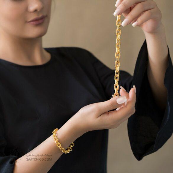 دستبند طلا زنانه طرح فیوژن