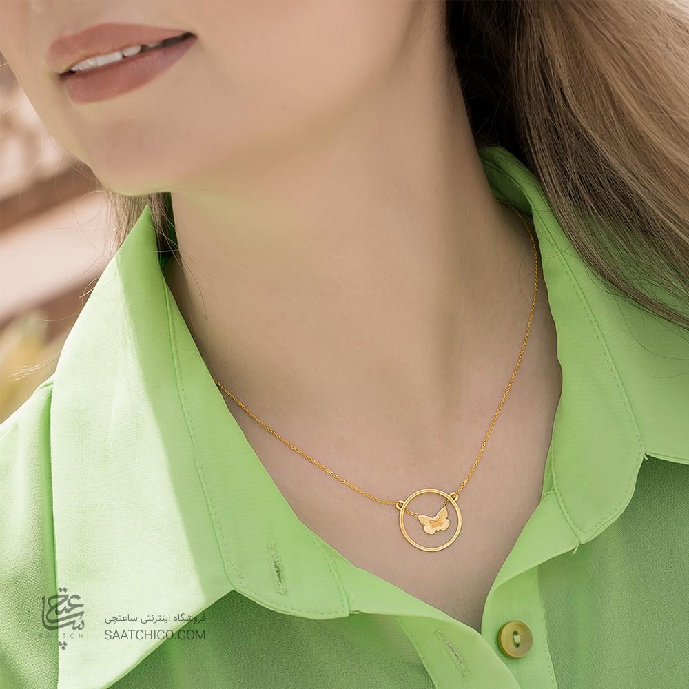 گردنبند طلا زنانه با پروانه دو رو
