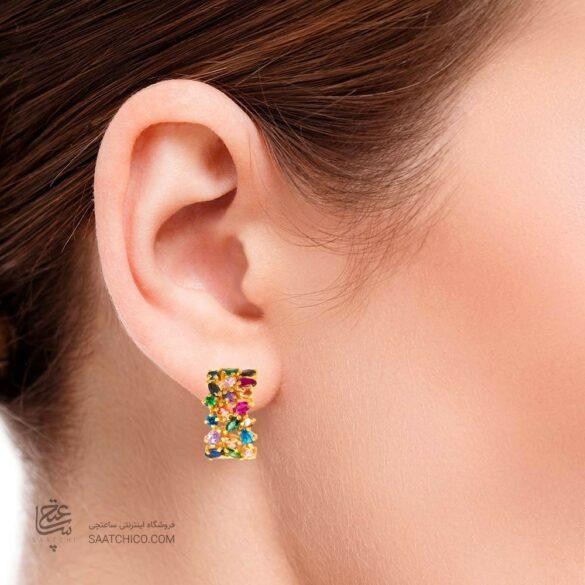 گوشواره طلا زنانه مولتی کالر با نگین