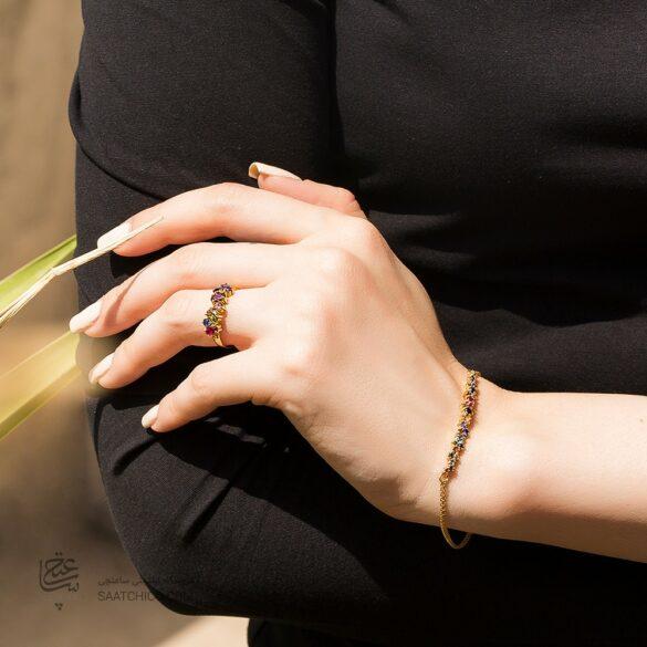 انگشتر طلا زنانه با نگین مولتی کالر