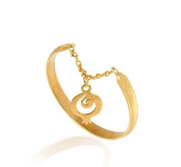 انگشتر طلا زنانه با آویز انار یلدا