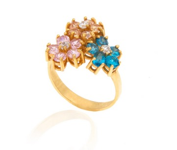 انگشتر طلا زنانه طرح سه گل با نگین