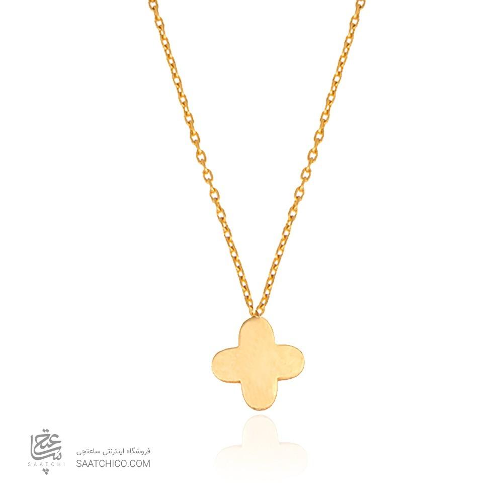 گردنبند طلا کودک طرح گل چهار پر ونکلیف کد KP605