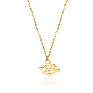 گردنبند طلا کودک طرح ماهی کد KP608