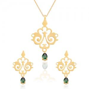 نیم ست طلا زنانه طرح اسلیمی با سنگ کد XS105