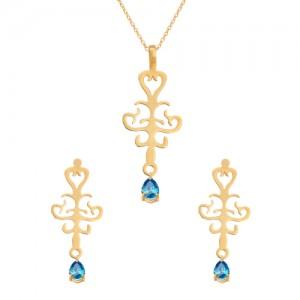 نیم ست طلا زنانه طرح اسلیمی با سنگ کد XS107