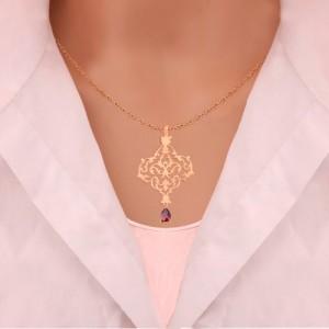 نیم ست طلا زنانه طرح اسلیمی با سنگ کد XS108
