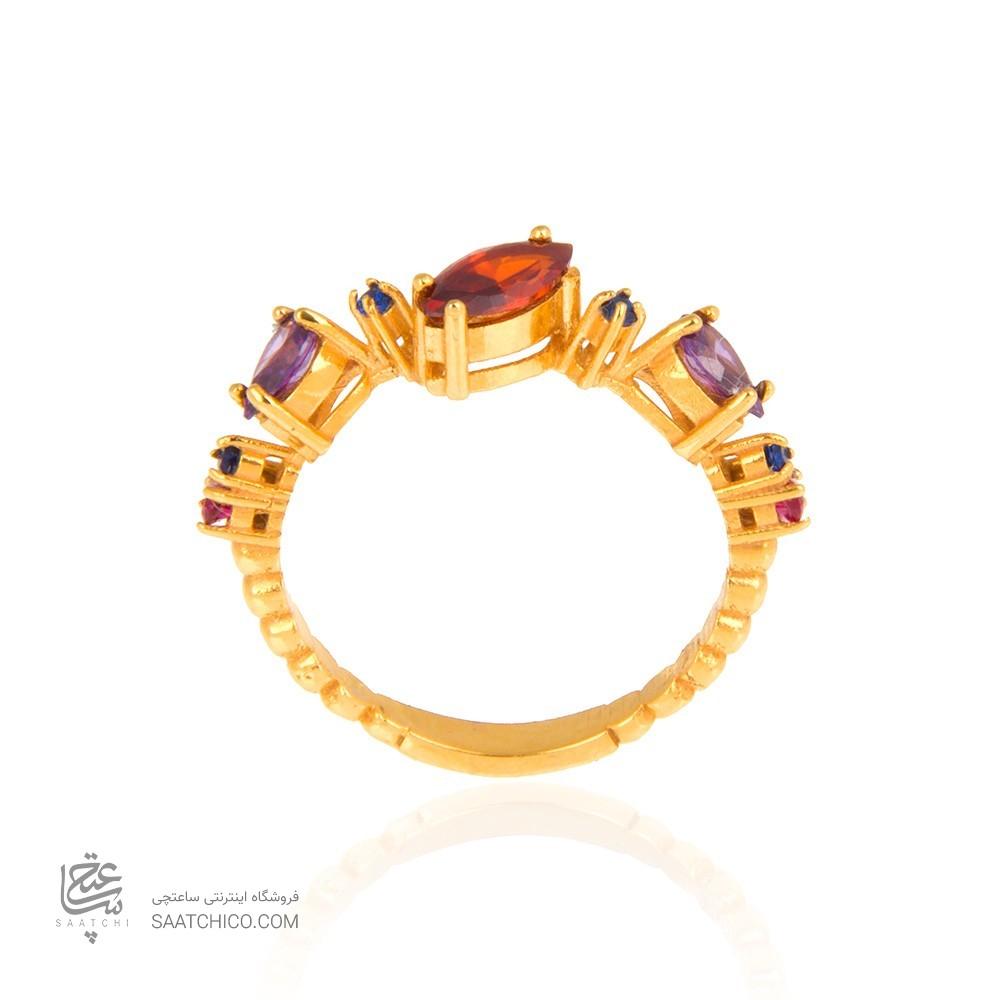 انگشتر طلا زنانه با نگین cz مولتی کالر کد cr302