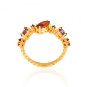 انگشتر طلا زنانه با نگین مولتی کالر کد cr302