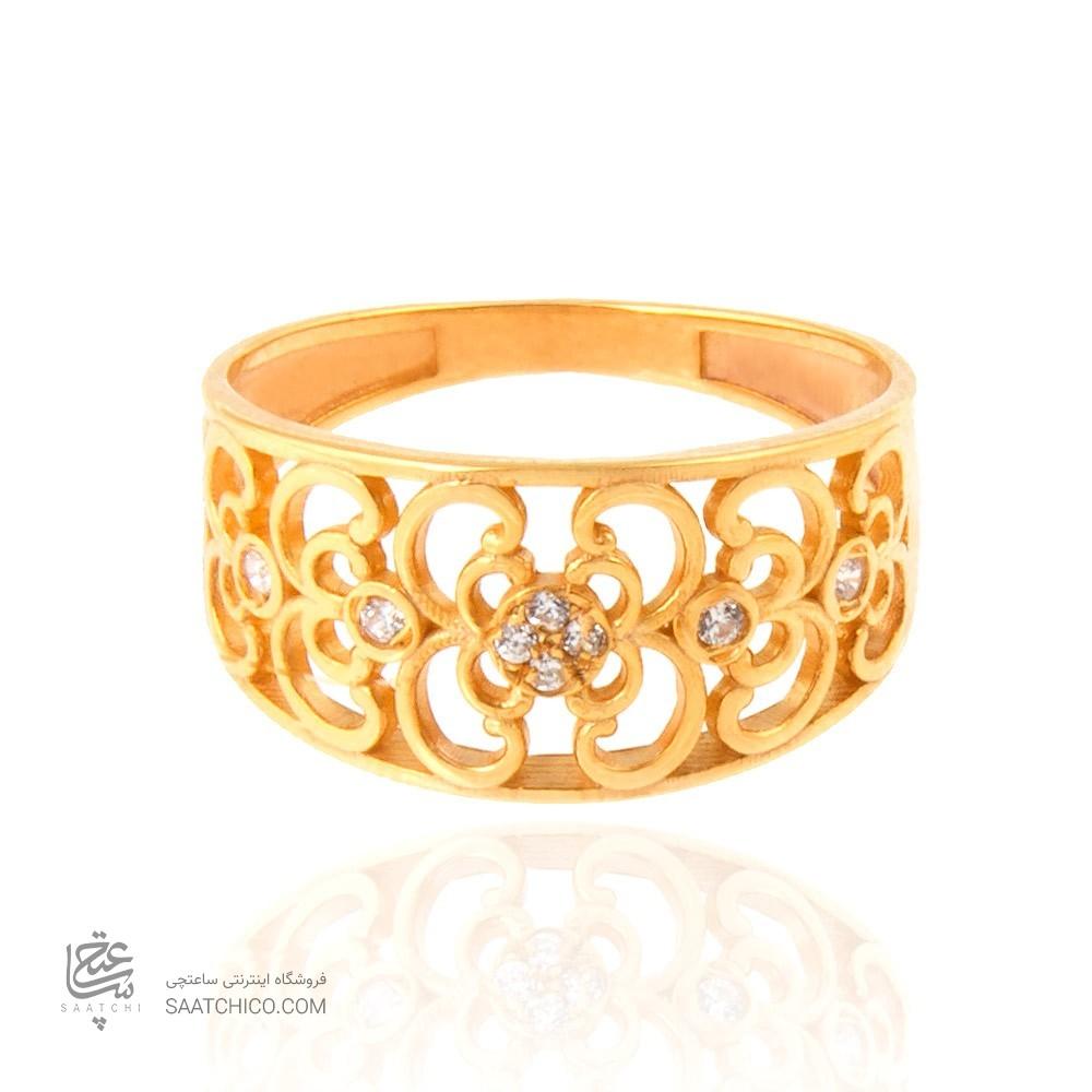انگشتر طلا زنانه طرح اسلیمی با نگین cz کد cr303