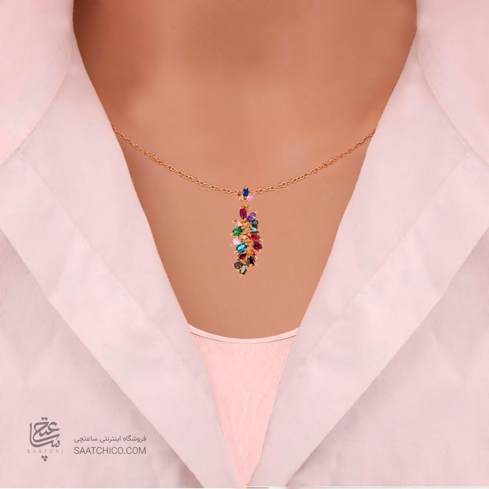 گردنبند زنانه طرح خوشه انگور با نگین های cz کد CP312