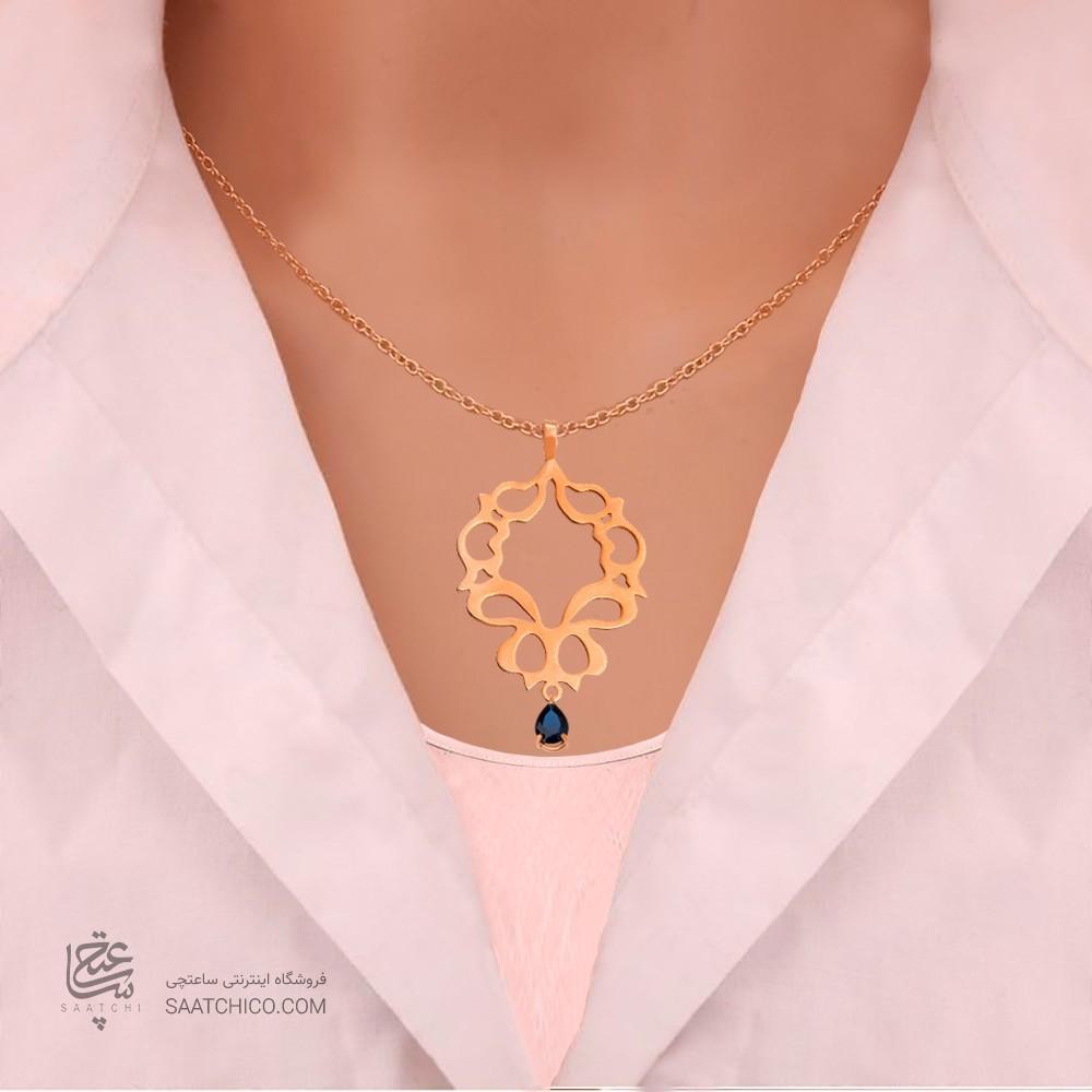 آویز طلا زنانه طرح اسلیمی با سنگcz کدXP103