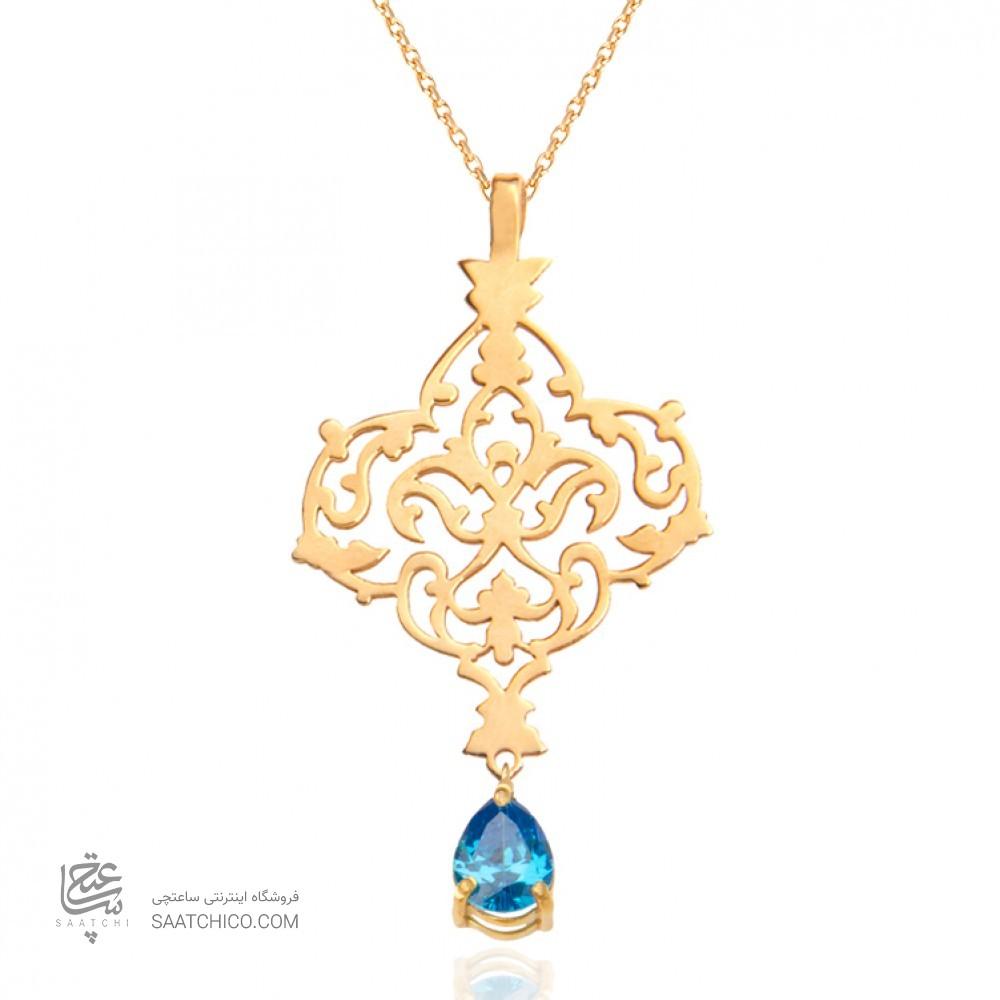 آویز طلا زنانه طرح اسلیمی با سنگ cz کد xp108