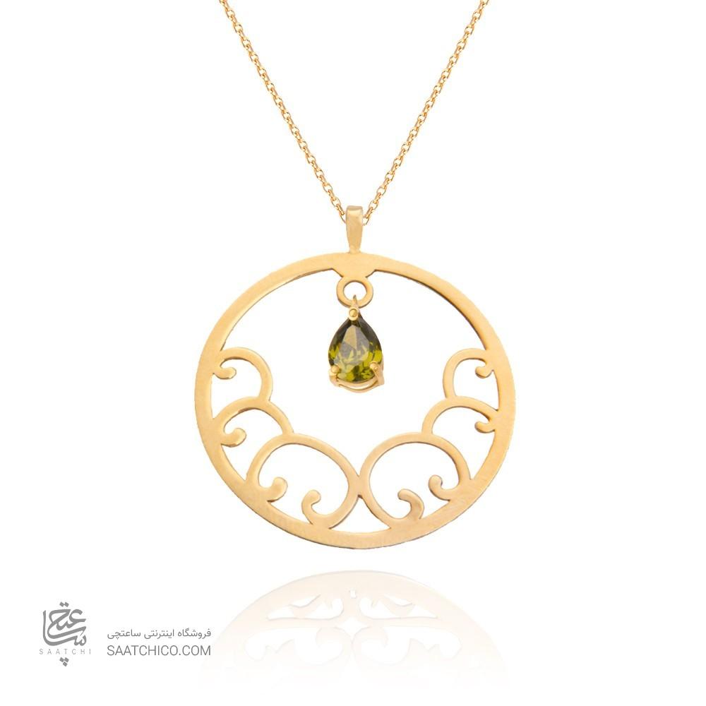 آویز طلا زنانه طرح اسلیمی با سنگ cz کد xp110