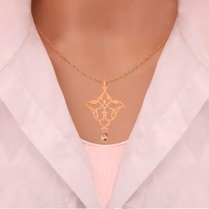 آویز طلا زنانه طرح اسلیمی با سنگ cz کد xp111