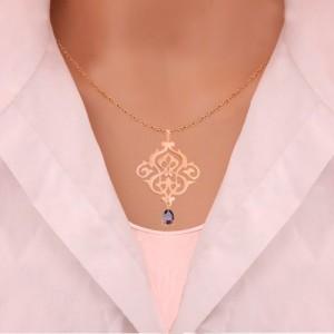آویز طلا زنانه طرح اسلیمی با سنگ cz کد xp112