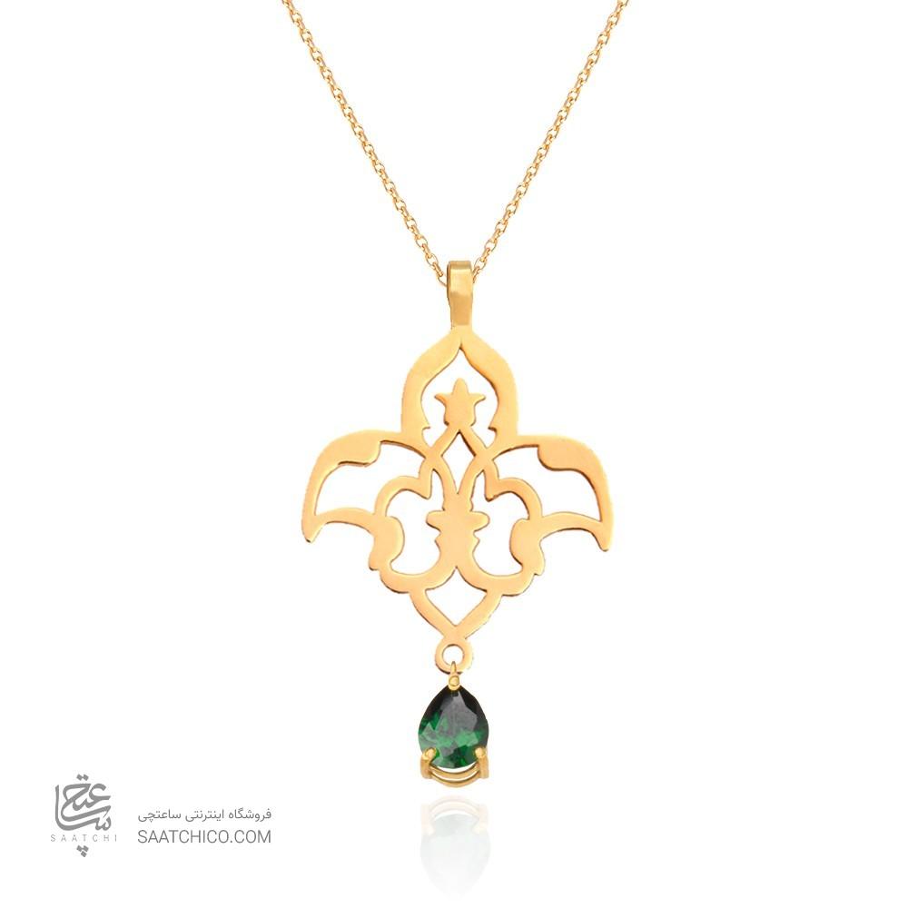 آویز طلا زنانه طرح اسلیمی  با سنگ cz کد xp113