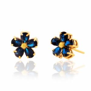 گوشواره طلا زنانه طرح گل با سنگ کد ce301