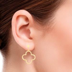 گوشواره طلا زنانه طرح گل چهارپر ونکلیف با نگین کد CE313