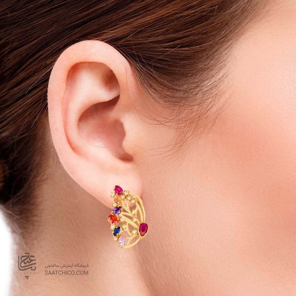 گوشواره طلا زنانه طرح پروانه با نگین کد CE315