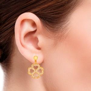 گوشواره طلا زنانه طرح گل چهار پر با نگین کد ce316