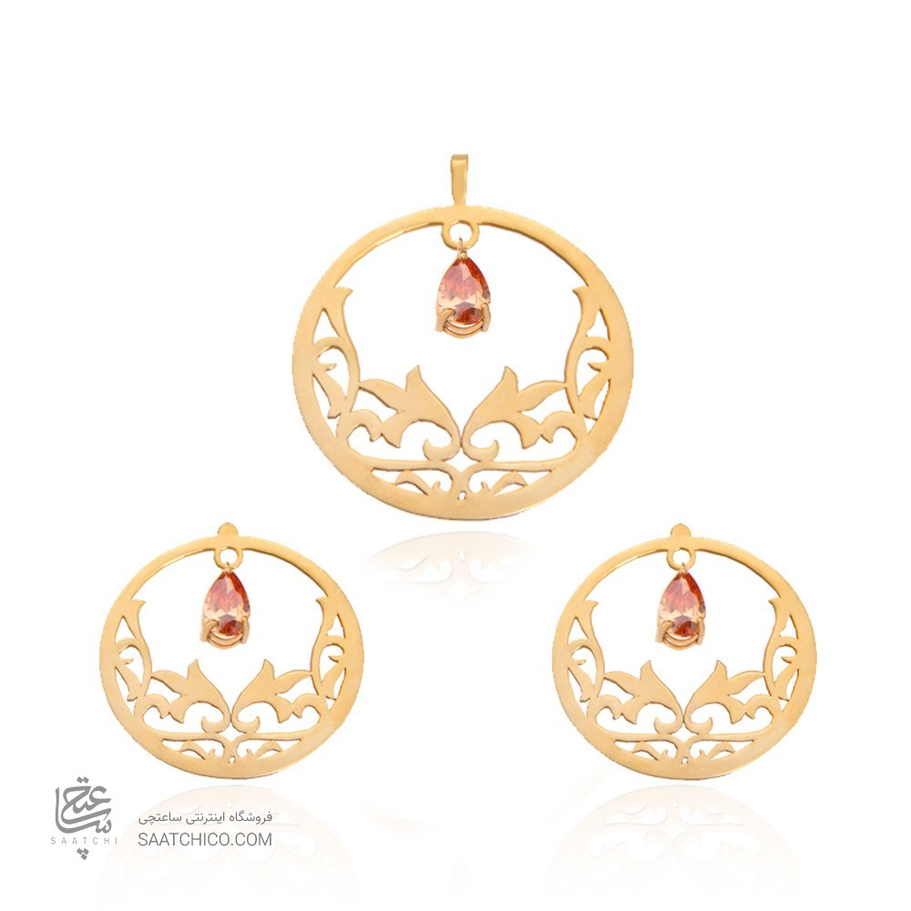 نیم ست طلا زنانه طرح اسلیمی با سنگ کد XS109