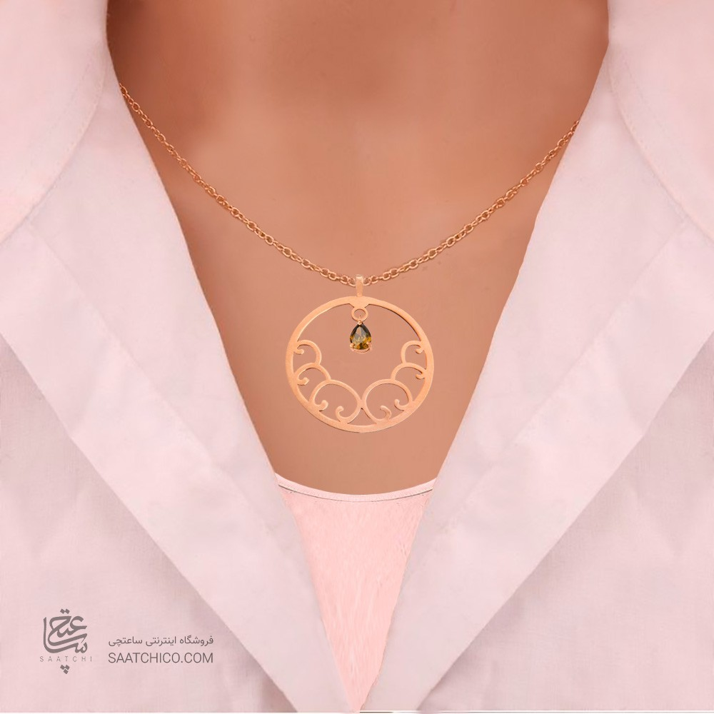 نیم ست طلا زنانه طرح اسلیمی با سنگcz کد XS110