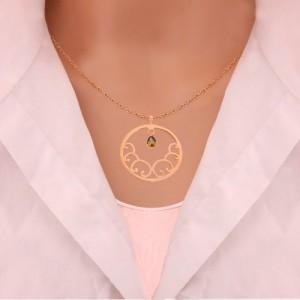 نیم ست طلا زنانه طرح اسلیمی با سنگ کد XS110