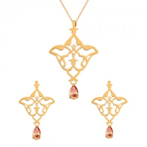 نیم ست طلا زنانه طرح اسلیمی با سنگ کد XS111