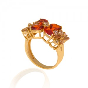 انگشتر طلا زنانه با نگین cz کد cr308