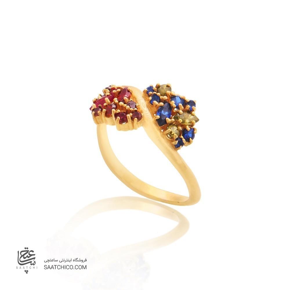 انگشتر طلا زنانه مولتی کالر با نگین کد cr309