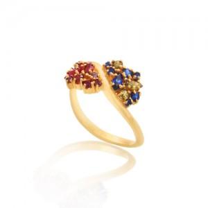 انگشتر طلا زنانه مولتی کالر با نگین های cz کد cr309