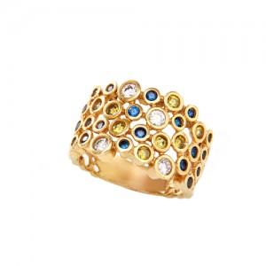 انگشتر طلا زنانه مولتی کالر با نگین های cz کد cr326