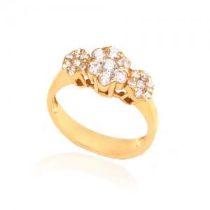 انگشتر طلا زنانه طرح flower سه گل با نگین کد cr334