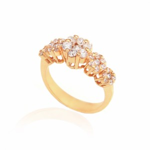 انگشتر طلا زنانه طرح پنج گل با نگین کد cr335