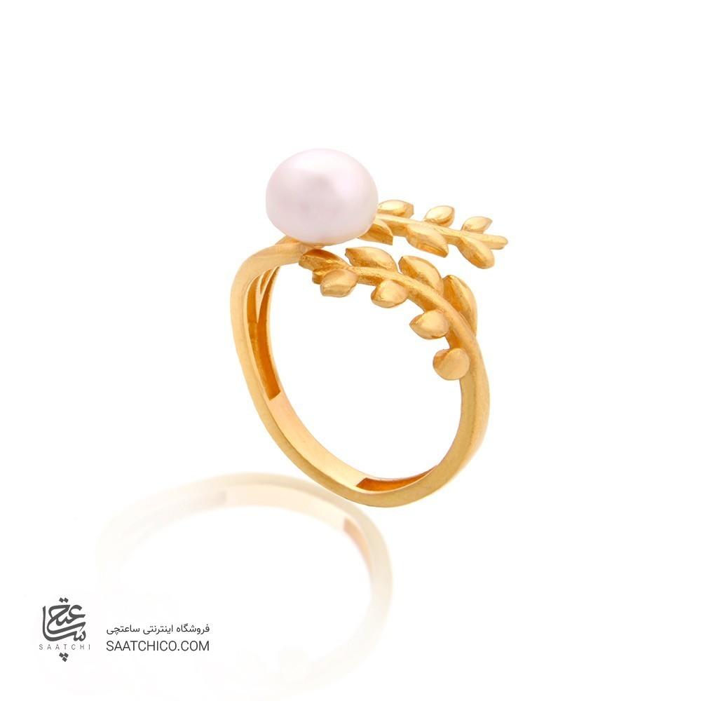 انگشتر طلا زنانه طرح شاخه گل با مروارید کد cr336