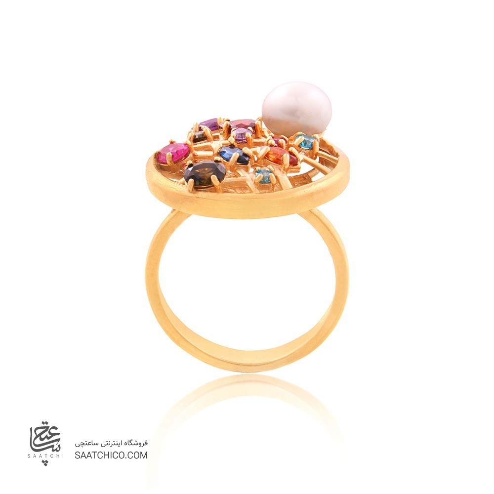 انگشتر طلا زنانه با نگین و مروارید کد cr337
