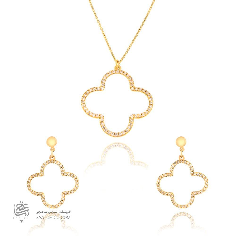 نیم ست طلا زنانه طرح گل چهار پر ونکلیف با نگین های کد CS313