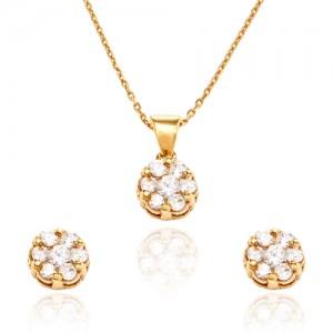 نیم ست طلا زنانه طرح گل با نگین های کد CS314