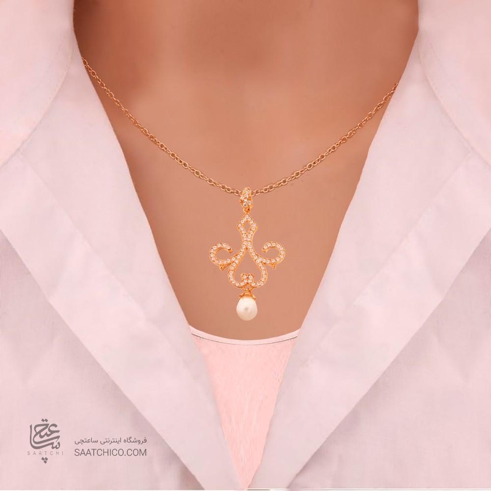 نیم ست طلا زنانه طرح اسلیمی با نگین و مروارید کد XS202