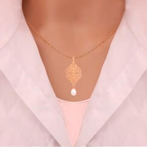 نیم ست طلا زنانه طرح اسلیمی با مروارید کد XS205