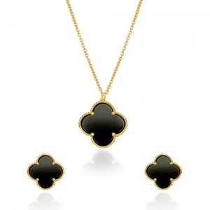 نیم ست طلا زنانه طرح گل چهار پر ونکلیف با صدف کد XS206