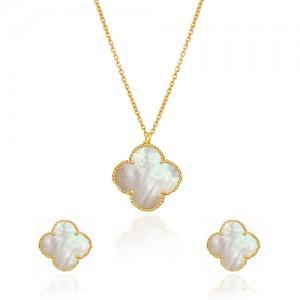 نیم ست طلا زنانه طرح گل چهار پر ونکلیف با کد XS206