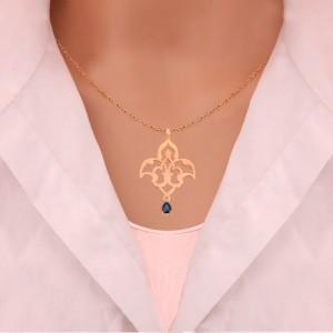 نیم ست طلا زنانه طرح اسلیمی با سنگ کد XS113