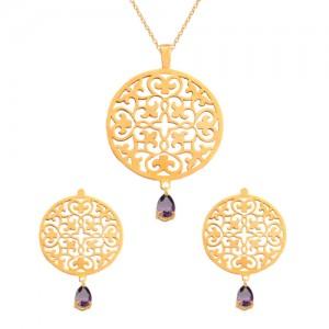 نیم ست طلا زنانه طرح اسلیمی با سنگcz کد XS115