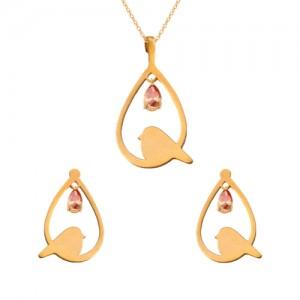 نیم ست طلا زنانه طرح لانه پرنده با سنگ کد XS116
