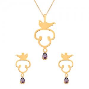نیم ست طلا زنانه طرح پرنده با سنگ کد XS121