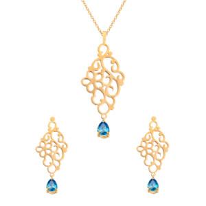 نیم ست طلا زنانه طرح اسلیمی گل کوچک با سنگ کد XS122