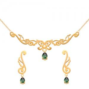 نیم ست طلا زنانه طرح اسلیمی با سنگ کد XS123
