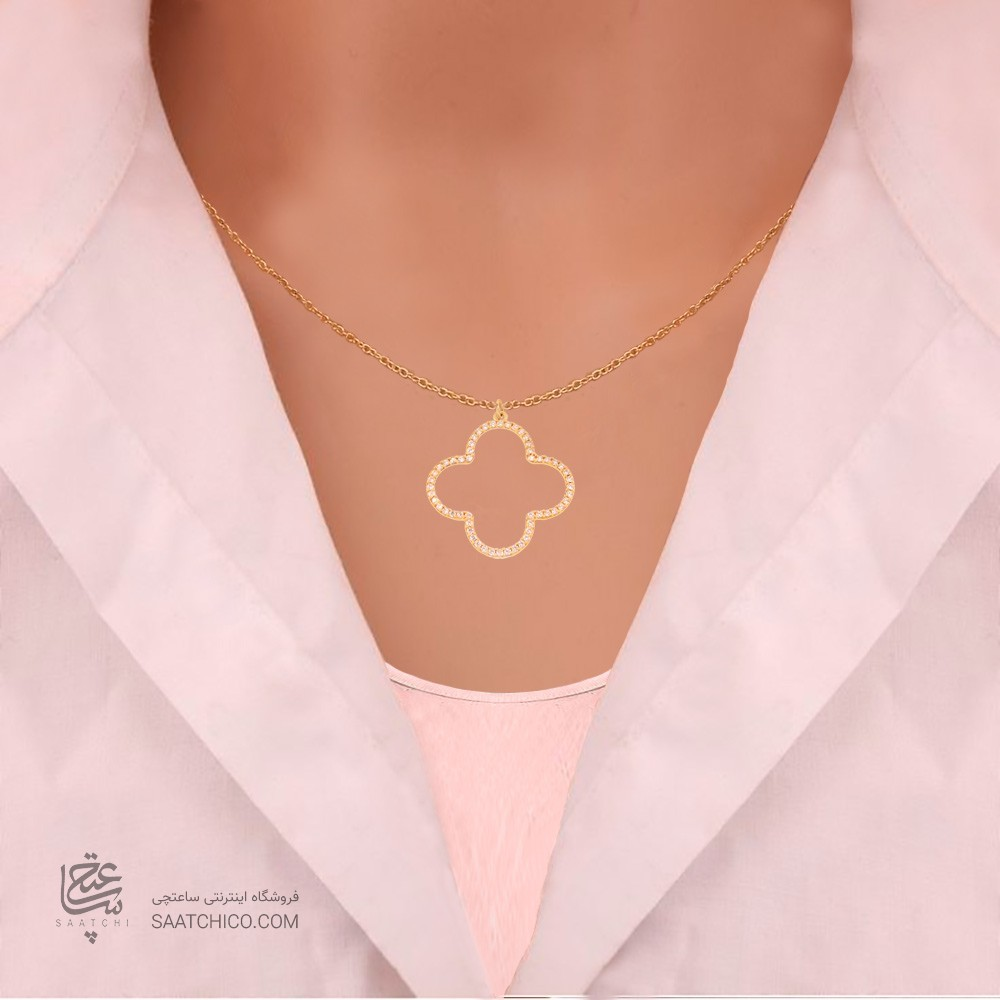 آویز طلا زنانه طرح چهار پر ونکلیف با نگین های cz کد CP309
